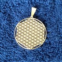 Blume des Lebens Anhänger -  2,5cm Edelstahl vergoldet - vollendet zum Christusbewusstsein für die 5.Dimension
